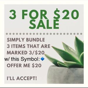 🔹=3 items for $20/ Bundle items w/ this symbol:🔹